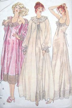 Vintage Vogue 1980s Pattern 9951 Night Gown Night by PatternGal, $17.00
