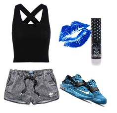 """Untitled #16"" by lyricjohnson0301 ❤ liked on Polyvore featuring adidas and Manic Panic"