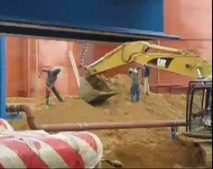 genius workers shovel excavator doing it wrong