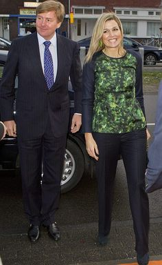 Queen Maxima of the Netherlands and NATAN Dark Grey Silk Top