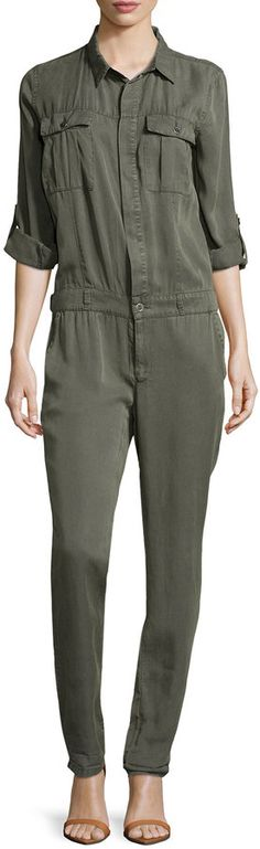 $129, Fade To Blue Trucker Soft Twill Jumpsuit Army Green. Sold by Last Call by Neiman Marcus. Click for more info: https://lookastic.com/women/shop_items/235331/redirect