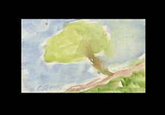 C PETERSON = Original Watercolor PAINTING = ACEO = Tree on a Hill w Sky VENTURA #moderncontemporaryartinterpretiveimpressionist