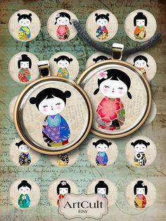 POUPÉES KOKESHI - Digital Collage feuille 1 et 1,5 pouces taille cercles Images imprimables pour les aimants de caps bouteille ronde pendentifs