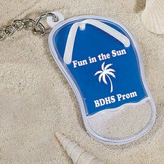Blue Sandal Key Tag with Sand.  personalized for your event at americanprom.com