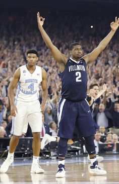 2016-04-05 Villanova forward Kris Jenkins (2) celebrates after the NCAA Final Four tournament college basketball championship game against North Carolina Monday, April 4, 2016, in Houston. Villanova won 77-74.(AP Photo/Eric Gay)