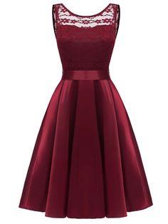 Trumpet Patchwork Lace #A-Line Dress
