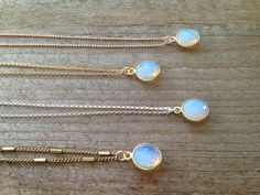 Opalite Bezel Stone Pendant Necklace in brass, sterling, gold filled and rose gold chains