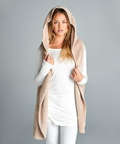 Look what I found on #zulily! Beige Faux Fur Pocket Hooded Vest #zulilyfinds