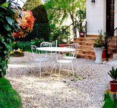 gravel patio with bistro dining