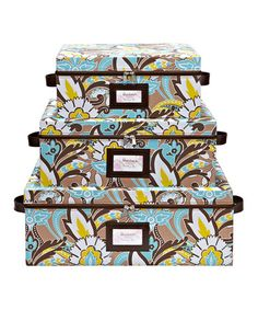 Take a look at this Serena Cappuccino Nested Zipper 3-Piece Storage Box Set by The MacBeth Collection on #zulily today!