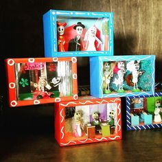 Day of the Dead Shadow Boxes at Barrio Antiguo 725 Yale St #HoustonTexas ( 713 )880 2105 sales@barrioantiguofurniture.com