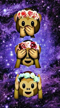 Flower crown monkeys. Emoji WallpaperTumblr ...