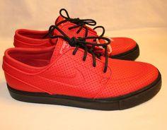 Nike iD Stefan Janoski Skateboard Red & Black Zoom Shoes Breathable Sz 9.5  New #Nike
