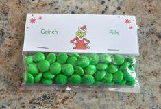 christmas treat bag ideas, grinch pills