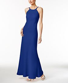 Calvin Klein Open-Back Halter Gown in my lucky color