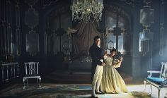 Jenna Coleman (Victoria) and Rufus Sewell (Lord Melbourne) behind the scenes of ITV's Victoria