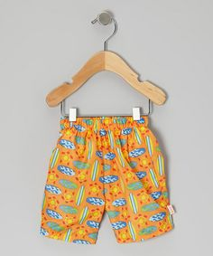 Take a look at this Orange Geo Surfboard Swim Trunks - Infant, Toddler & Boys by water wear on #zulily today!