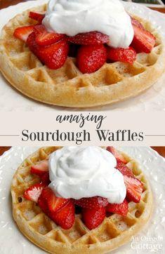 Sourdough Waffle Recipe, Sourdough Bread Starter, Sourdough Pancakes, Sourdough Recipes, Pancakes And Waffles, Whole Wheat Sourdough, Real Food Recipes, Icing Recipes, Crepe Recipes