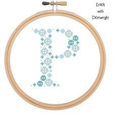 Blue Button Art 'P' monogram cross stitch pattern  | Craftsy