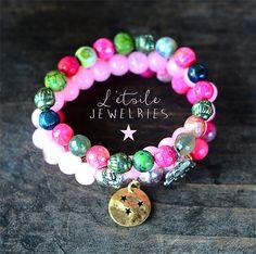 Ensemble de 3 bracelets pierres gemme, agates, rose, style boho, bohême, hippie chic, shabby