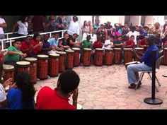 Highland Elementary's World Drumming Ensemble Perform During Lake Worth Street Painting Festival - YouTube