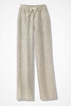 Shop our women's pants and shorts on clearance at the Coldwater Creek Outlet store online. We have a variety of pants and shorts for every season at great prices. Cute Fashion, Boho Fashion, Fashion Outfits, Formal Pants Women, Pants For Women, Linen Pants, Trouser Pants, Clothes 2018, Striped Linen