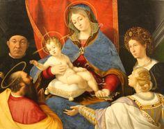 Andrea Previtali - Madonna con Bambino in trono tra santi e committenti (Madonna Cassotti) - 1520 ca. -  Accademia Carrara di Bergamo Pinacoteca