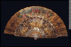 Fan, 1860 - 1875, mother of pearl, gold, hand painted panel, likely to accompany an evening gown, McCord Museum