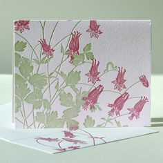 "A camouflaged caterpillar inches its way along the arching stem of this favorite bell-shaped flower.    This card is also available with a ""Thank You"" greeting. $5"