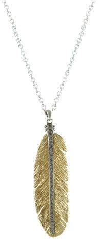 Gold Casbah feather necklace with VS stem and BD crystals – Tat2 Designs