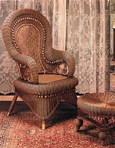 The beauty of wicker lies in the give of the weave coupled with firm support.a good sit. Wicker Table And Chairs, Wicker Furniture, Living Room Furniture, Iron Furniture, Leather Wingback Chair, Leather Sofa, Wicker Rocker, Velvet Tufted Sofa, Victorian Living Room