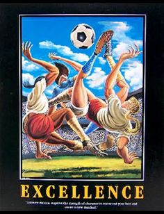 "EXCELLENCE Motivational Women's Soccer Poster Print - ""Title IX"" by Ernie Barnes - available at www.sportsposterwarehouse.com"