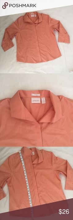 Chico Sz 2 Button Down Blouse Gently used. Measurements provided. Chico's Tops Button Down Shirts