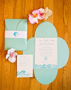 Ocean Letterpress Wedding Invitation Package by TraceyWatersDesign, $6.10