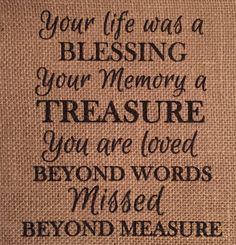 Your Life Was a Blessing Burlap Print Rustic Print by MilsoMade