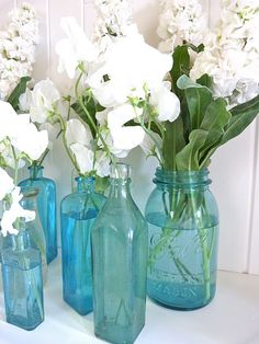 Love these seaglass blue vintage bottles!