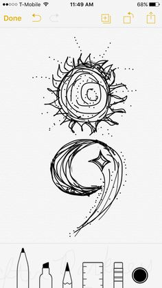 ❤❤❤ My next TATTOO Semicolon tattoo design by me, if you love it please feel free to use it! Sun moon shooting star If you use my design, please send me a pic! I would love to see and it would be an honor!