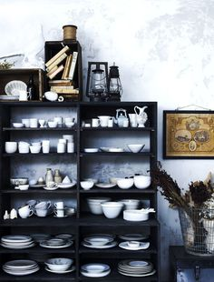 greige: interior design ideas and inspiration for the transitional home : Contrast with exposed storage