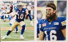 Sam Hurl #10, Taylor Loffler #16 Winnipeg Blue Bombers, Canadian Football League, Blue Gold