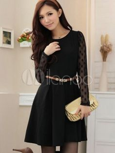 16Chic Black Shaping Polka Dot Patterned Cotton Women's Bodycon Dress - Milanoo.com