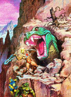MASTERS of the UNIVERSE - He-Man tackles the Fright Zone! Painting by: Earl Norem.