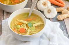 Few things are as soothing and comforting as a bowl of homemade chicken soup. With garlic, ginger, and tumeric, this Healing Paleo Chicken Soup recipe can help fight off the sniffles any day! And i…
