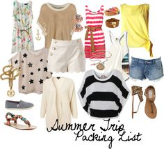 """""""Summer Trip Packing List"""" by wave412 on Polyvore"""