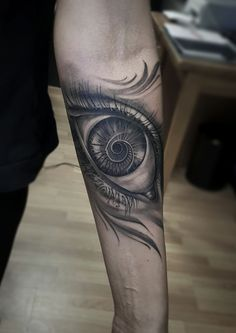 Black and gray eye tattoo on lower arm. Artist @janissvars  #eye #eyetattoo #tattoo #blackandgray #blackngray #blackandwhite #armtattoo #stairs #tattooed #art #tattooink  #ink #inked #skin #tattooartist #share #like #follow