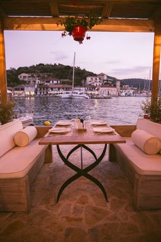 Evening in Meganisi, Greece Roasted Chestnuts, Little Island, Outdoor Furniture Sets, Outdoor Decor, Beautiful Space, Terrace, Greece, Bbq, Restaurant