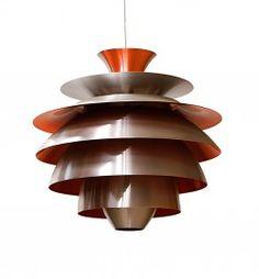 Retro design- verlichting. Hanglamp oranje.  Aluminium lamellen lamp in 2 kleuren combinaties geven deze retro 50ies - 60ies designlampen ee...