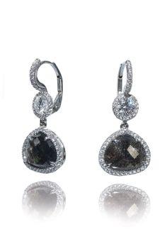 Rahaminov Black & White Diamond Drop Earrings