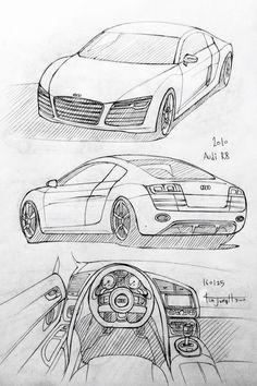 Car drawing 160125. 2010 Audi R8. Prisma on paper. Kim.J.H