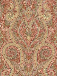 Patini (T1033) - Thibaut Wallpapers - A bold Indian inspired paisley design in red, cream and olive green.Wide width. This is an American wallcovering and will take between 7-10 working days for delivery. Wide width. Please request sample for true colour match.