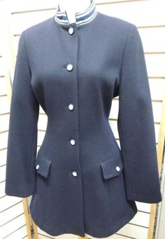 Armani Jeans Navy Blue Nautical Wool Fitted Pea Coat Banded Madarin Collar S